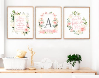 Nursery or Toddler Room Wall Art, Quote Prints, Floral Monogram Print, Though She be but little, Let her sleep for she will, Set of 3 prints