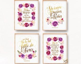Baby Girl Nursery Art in Purple, Baby Girl Nursery Prints, Gold Foil Nursery Prints, Nursery Quotes, Proverbs Prints