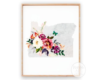 Oregon Print | Wall Decor | House Warming Gift | Flower Wall Decor