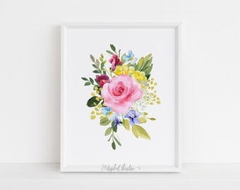 Tropical Nursery Print, Baby Girl Nursery Wall Art, Tropical Floral Nursery Printable Art, DIGITAL DOWNLOAD, 210