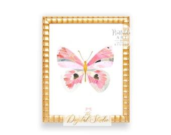 Butterfly Printable Wall Art, Butterfly Nursery Print, Baby Girl Nursery Art, Pink Butterfly Art