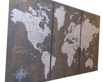 World Map Push Pin Travel Map • Wall Art  • World Map • Wedding Gift • Unconventional Guest Book • Anniversary
