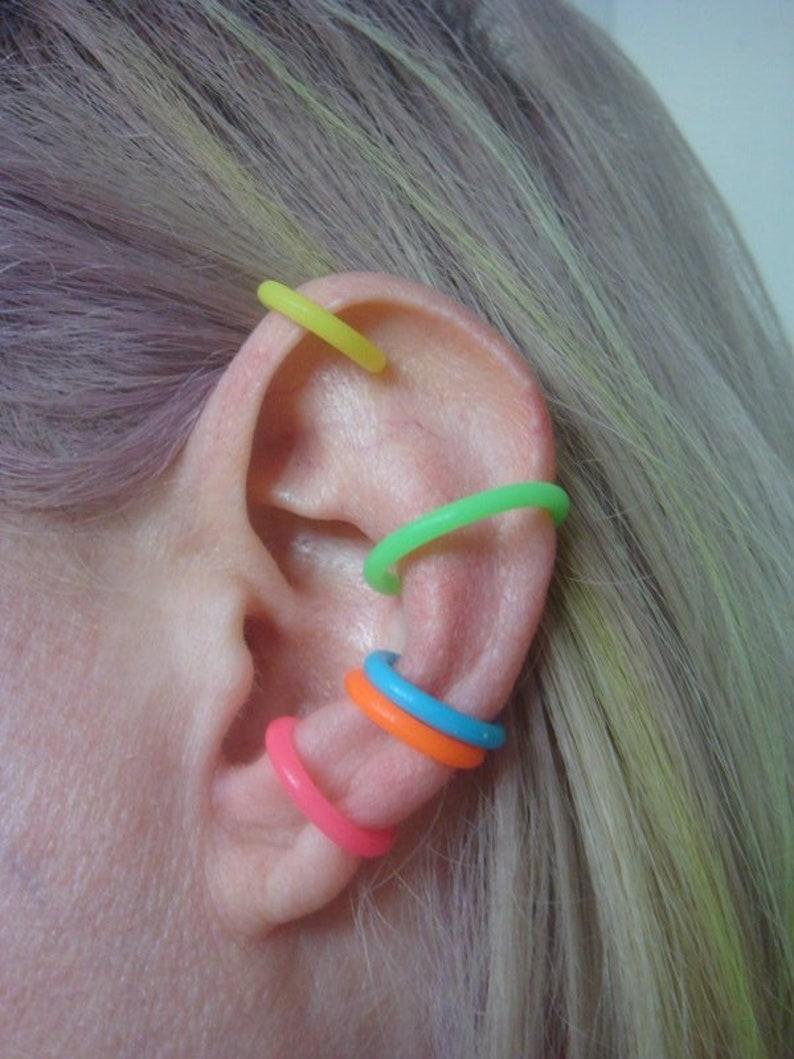 Neon Ear Cuff Neon Ear Cuff Set of 5 Hypoallergenic Earrings Rainbow Earrings Body Jewelry