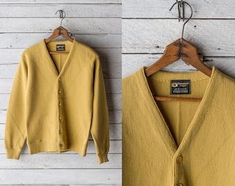 60s Mustard Cardigan - JC Penney s Towncraft Prep Yellow Cardi Sweater - Sz  Small Medium 2051f35a3