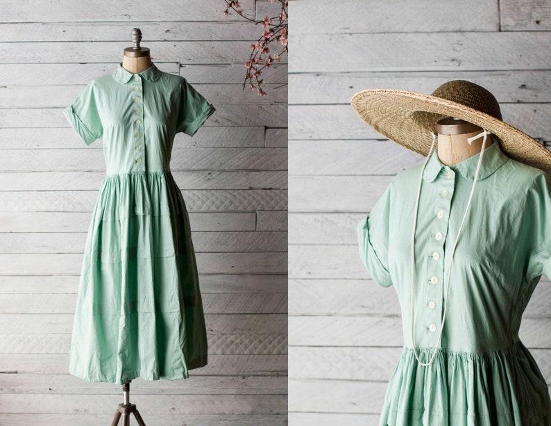 08b8e735b5a 1940s Handmade Day / House Dress - 40s Mint Green Peter Pan Collar Cotton  Shirt Dress - Small / Medium