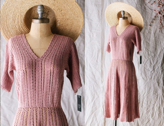 1930s Crocheted Dress - Coral Pale Pink Knit Cotto