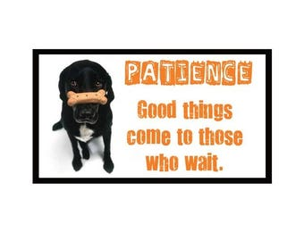 Fridge Magnet: PATIENCE - Good Things Come To Those Who Wait.
