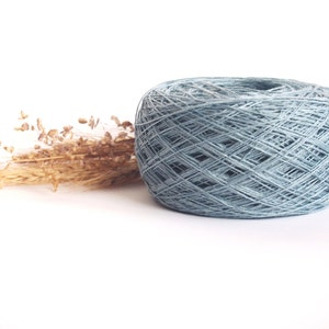 Linen Yarn For Crochet Azure Blue Linen Yarn #082 High Quality 100 g 3.5 oz Knitting
