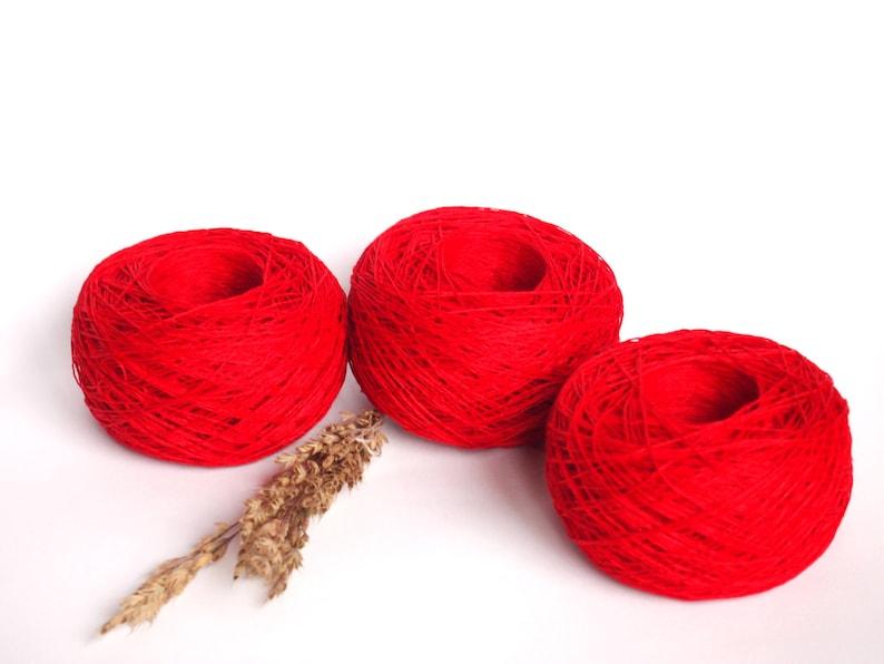 Balls Knitting 150 g5.25 oz Natural Red Linen Yarn High Quality Linen Yarn For Crochet