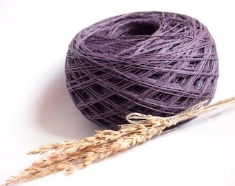 Linen Yarn, High Quality, Dark Purple Linen, #048 Linen Yarn For Crochet, Knitting, 100 g/ 3.5 oz