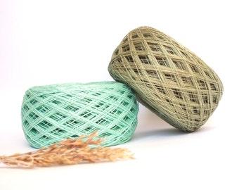 2 Balls Natural Green Linen Yarn, High Quality, Linen Yarn For Crochet, Knitting, 200 g/7 oz