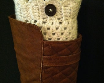 Boot Cuffs, White crochet Leg Warmers White with Button (more colors!)