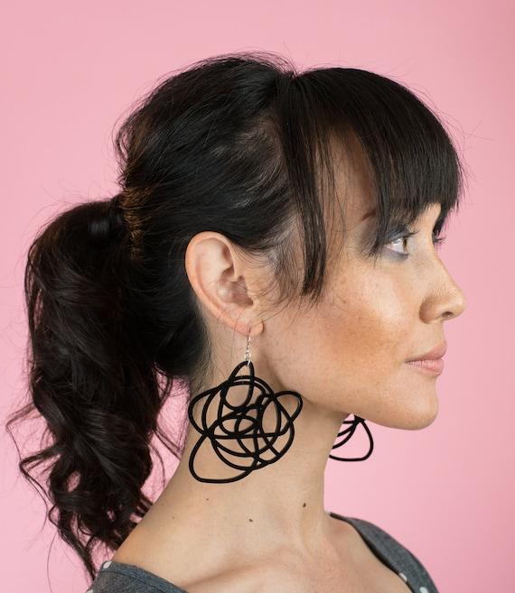 Black long circle earrings Black dangle earrings Black circle earrings Black earrings Black long earrings 60s earrings Gift for her Under 20