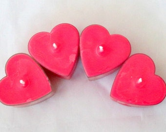 Fresh Cut Roses, tealight candles, heart candle, heart tea candles, soy candle, soy tealights, valentine candle, tea light, tea light candle