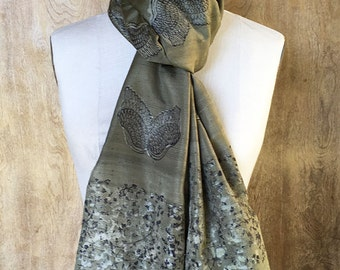 Feathered Wings on Dark Olive-Green Silk Scarf