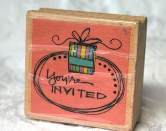 You're Invited Rubber Stamp, Studio G, Kolette Hall stamp Wood Mounted, Invitation stamp, You're Invited Stamp, Present Stamp,