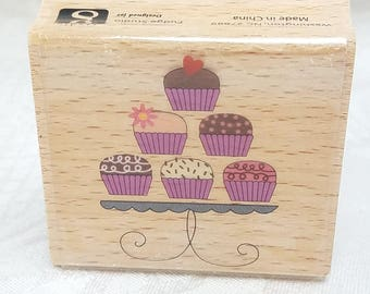 Birthday Cupcake Tower Rubber STamp Cupcake stamp Hot Fudge Studio and Studio G Wood Mount Cupcake Rubber STamp, Birthday Card, Candle Stamp