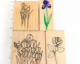 Tulips Block Print Rubber stamp Used View all Photos A2668F Rubber Stampede