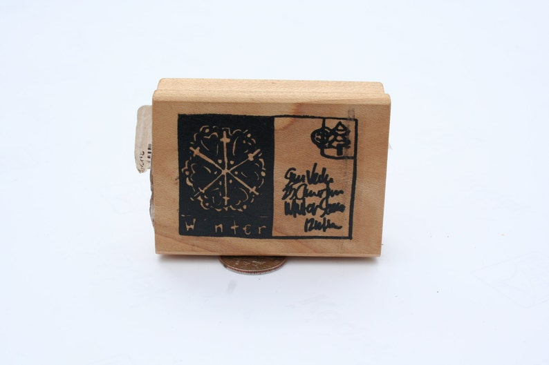 NEW Wood Mounted Santa Letter Snow Flake Rare Retired Christmas Christmas Holiday Christmas Winter Postcard Rubber Stamp Winter