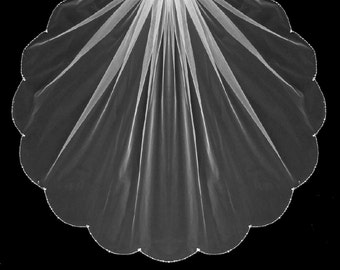 Crystal and Rhinestone Beaded Edge Scallop Elbow, Fingertip, Chapel or Cathedral Length Wedding Veil - Free Tulle Swatches
