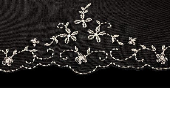 Crystal Beaded Floral Design Fingertip Length Wedding Veil Free Tulle Samples Moscato and more! Ivory Blush