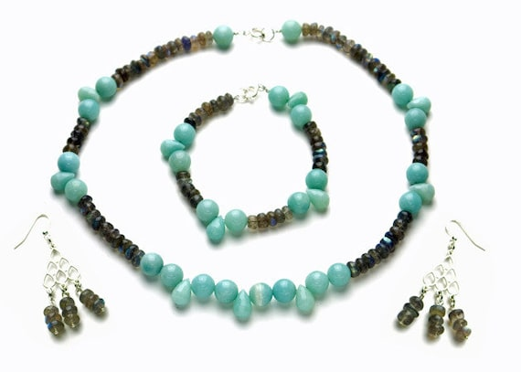 Multi Color Round Turquoise Stone Beads Necklace Bracelets /& Drop Earring Set