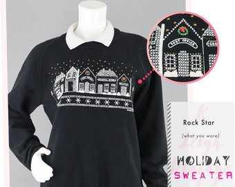 2788b0d144ac Ugly Christmas Sweater Vintage, 80s Ugly Jumper Black Pullover Puffy Paint  Collared Sweatshirt, Women's Large