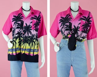 7292cd75dbfa 80s Hawaiian Tropical Camp Shirt Vintage Cotton Summer Button