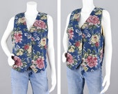 Vintage 90s Jean Vest, Blue Pink Large Floral Print Button Down V-neck Denim Vest, Women 39 s Medium