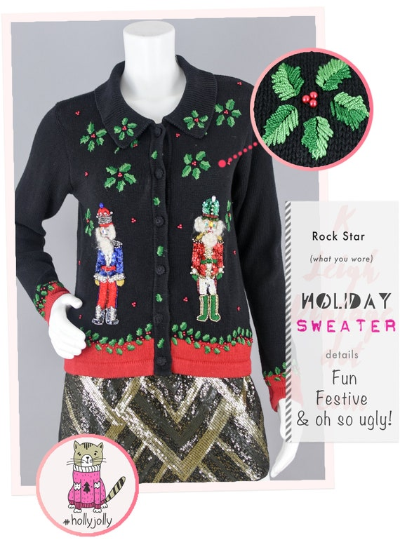 Ugly Christmas Cardigan Vintage, 90s Black Knit Button Down, Chunky Embroidered Sequins Sweater, Women's Petite PP