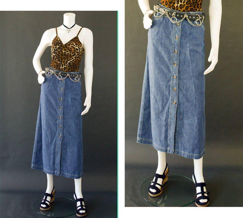 b736d6e060 Vintage Long Maxi Jean Skirt Button Down Denim Jean Skirt   Etsy
