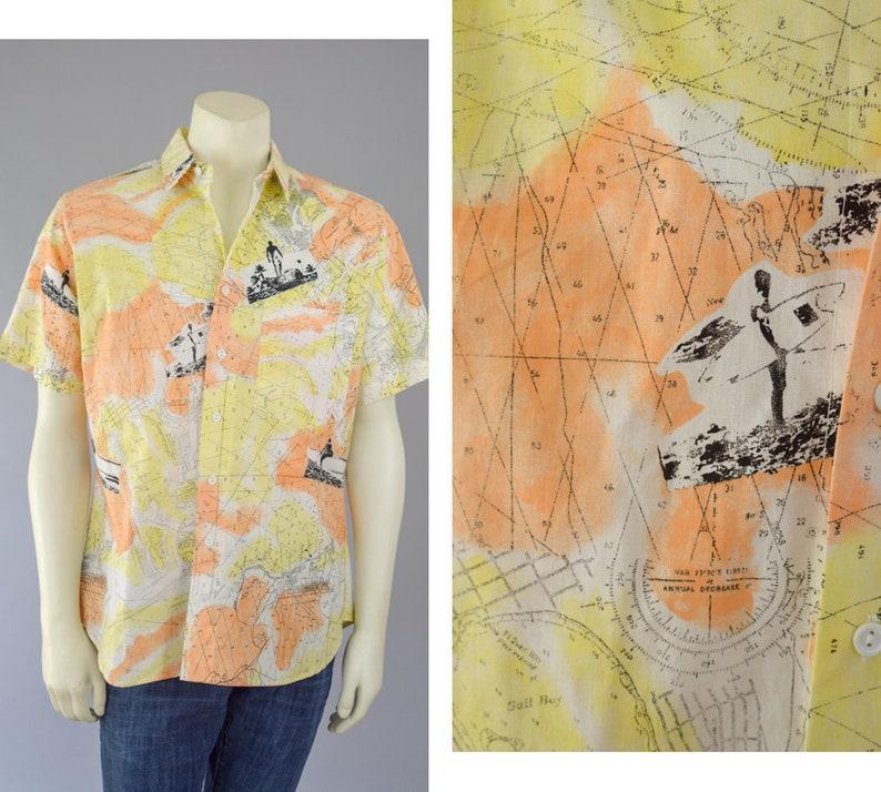 2e940252e0b9 90s Hawaiian Print Camp Shirt Vintage Short Sleeve Yellow