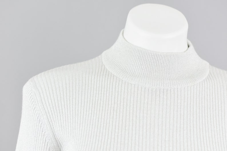 Vintage 90s Ribbed Mockneck Long Sleeve Shirt Deadstock Worthington Women/'s Large Silver Metallic Basic Layering Top