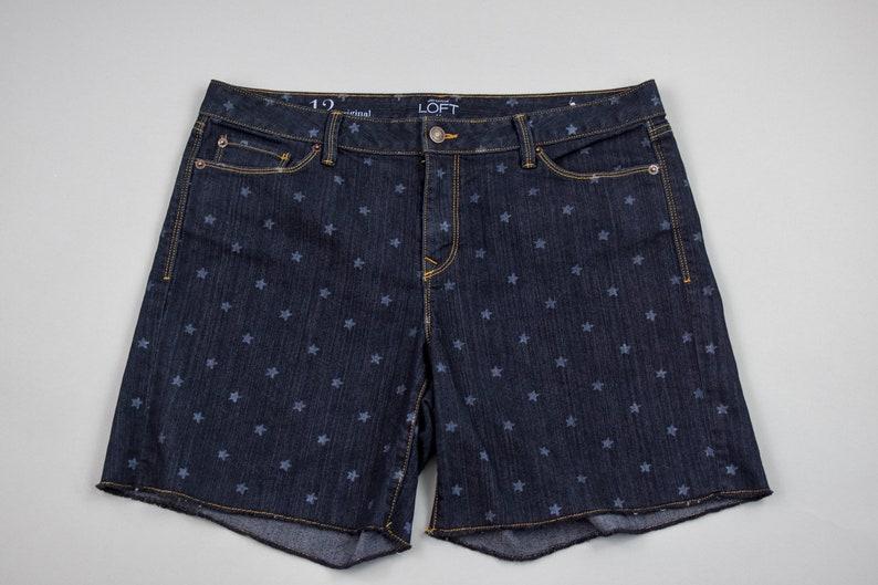 7f45af2b0feb8 Hand Dyed Black Denim Shorts with Stars Ann Taylor Loft | Etsy