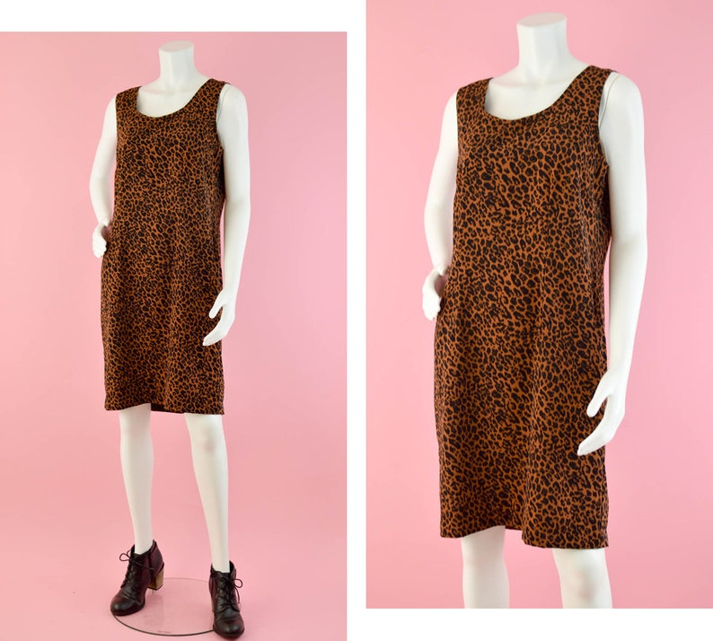 c53135add07f6 90s Animal Print Shift Dress Vintage Brown   Black Sleeveless