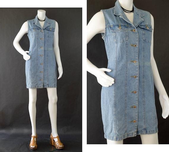 21d4717480f Vintage Denim Dress Blue Jean Sleeveless Dress Button Up
