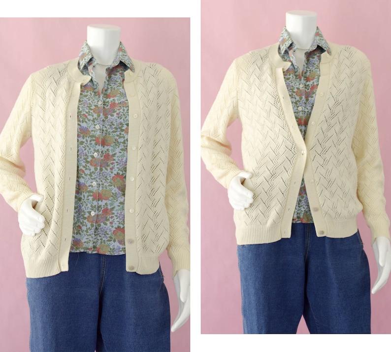 86a856333286c6 70s Cream Crochet Knit Cardigan Vintage Acrylic Button Down | Etsy