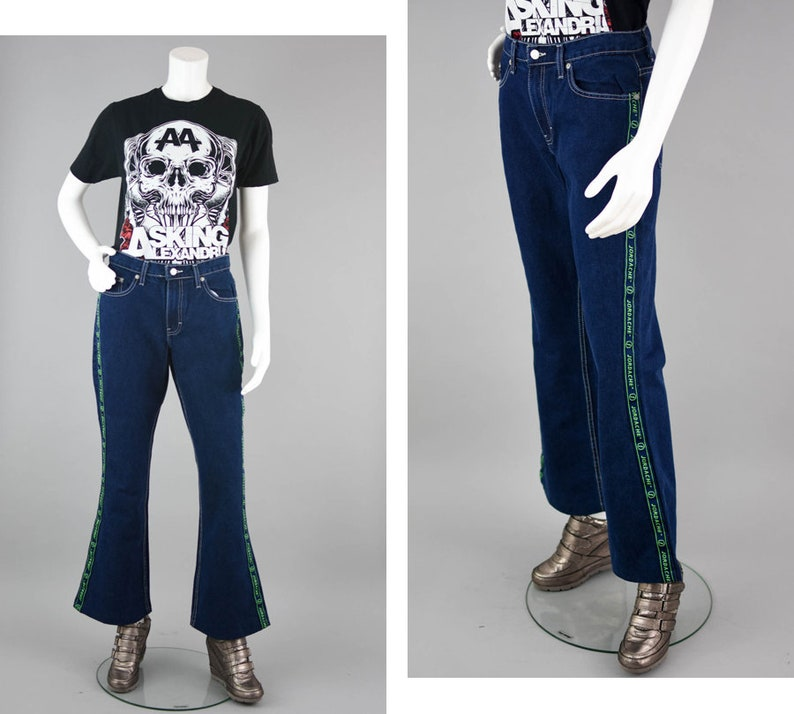 f67f55c506d 90s Jordache Jeans Vintage 90s Spell Out Pipes Jeans Tuxedo