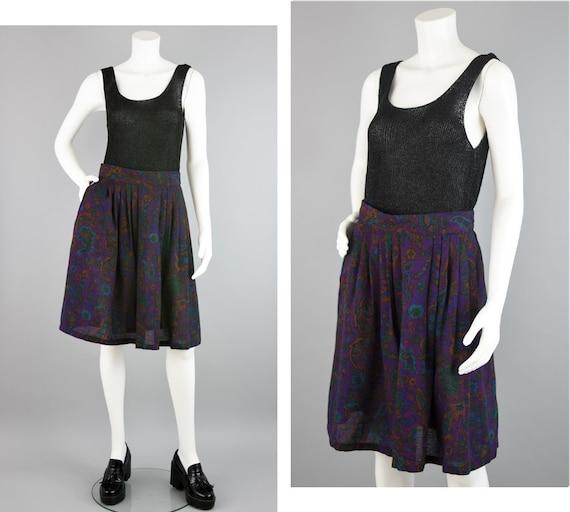 Vintage Tropical Leaf Print Midi Maxi Skirt  Pleated Elastic High Waist Full Pockets   80s 90s  Red Blue Orange Green Plus Size 14 Large