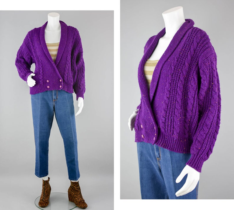 343f3408d 80s Purple Chunky Knit Slouchy Cardigan Vintage Rainbow