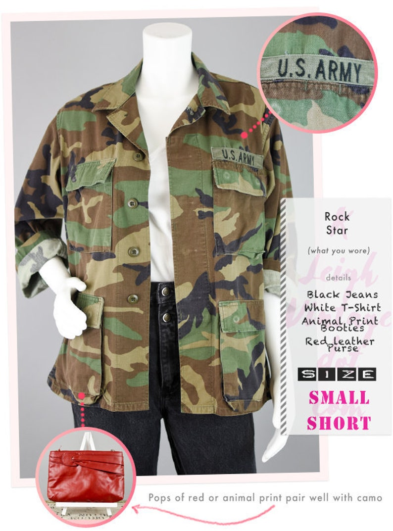 1b937d9812b 90s Camo Jacket Vintage US Army Fatigue Field Jacket with