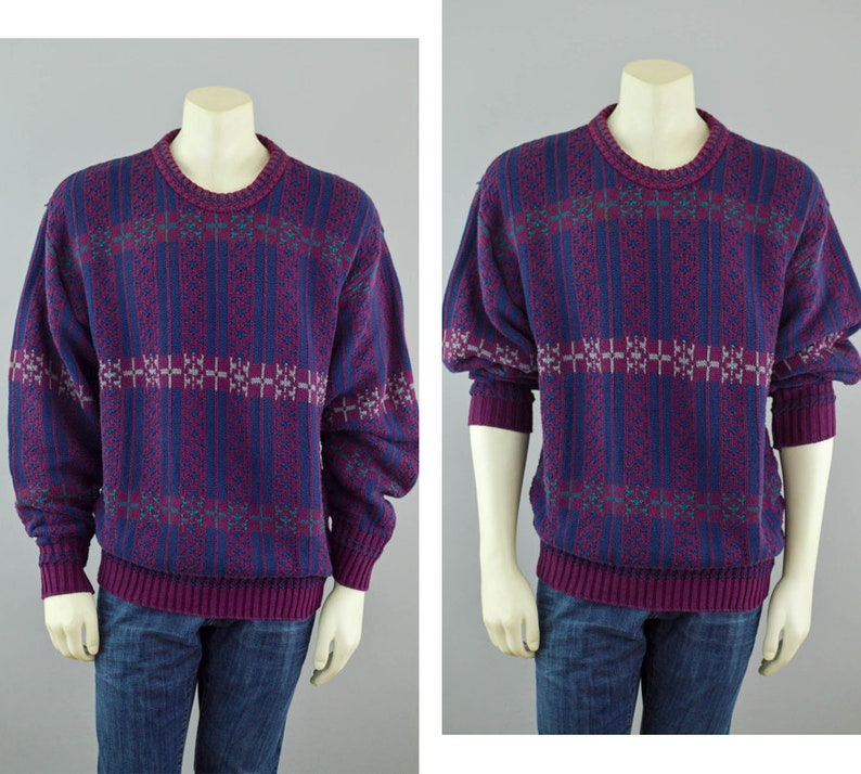 d5dcc5168 90s Slouchy Chunky Knit Sweater Vintage Burgundy   Blue Geo