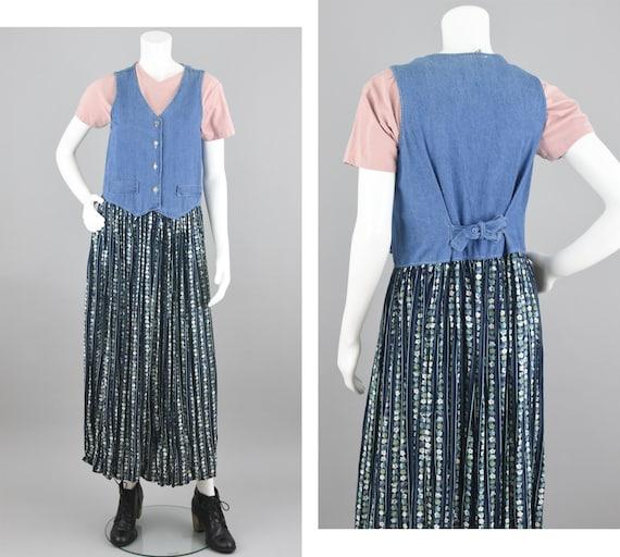 90s Jean Dress, Blue Flower Pattern Midi, Green S… - image 1