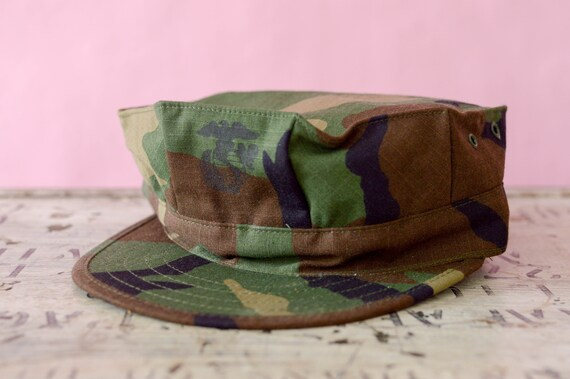 Camo Hat Vintage Camouflage USMC Insignia Marines Corps  15131f863274