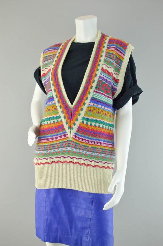 80s Wool Sweater Vest Vintage, Rainbow Striped Chunky Maglia Pullover, Brutto V collo Maglione Vest, Donna da donna