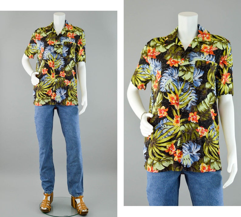d9923e66 90s Hawaiian Tropical Print Camp Shirt Vintage Black Floral | Etsy