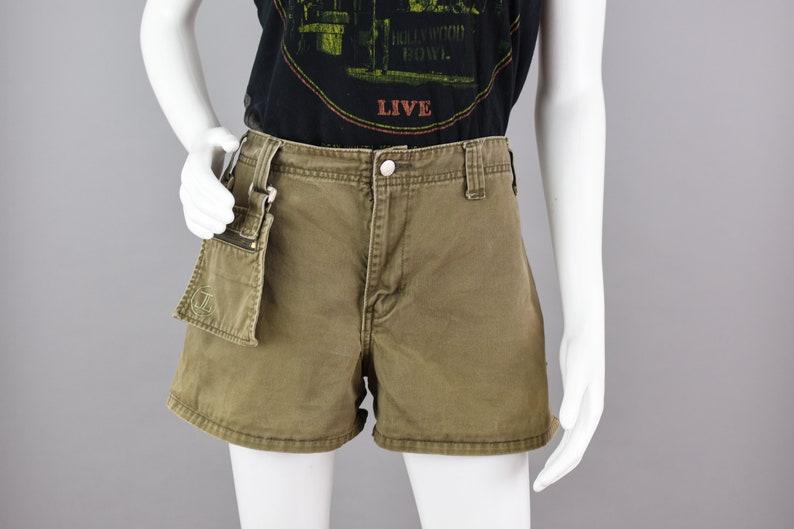 90s Olive Green Summer Shorts Waist 34 Vintage Jordache High Waist Grunge Shorts with a Fanny Pack Juniors Size 13