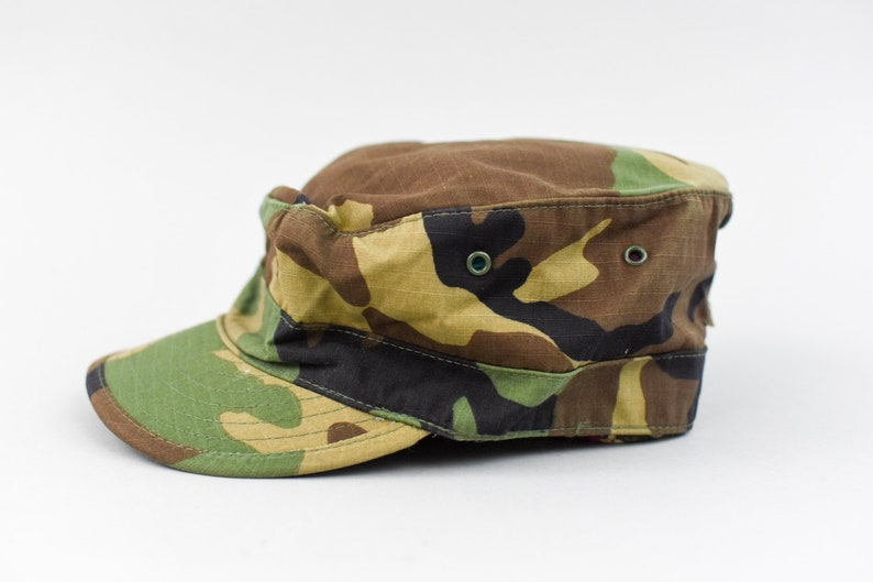 8fc2ec932 Camo Hat Vintage, US Army Woodland Hot Weather Camouflage Utility BDU  Patrol Cap, Unisex Size 7 1/8