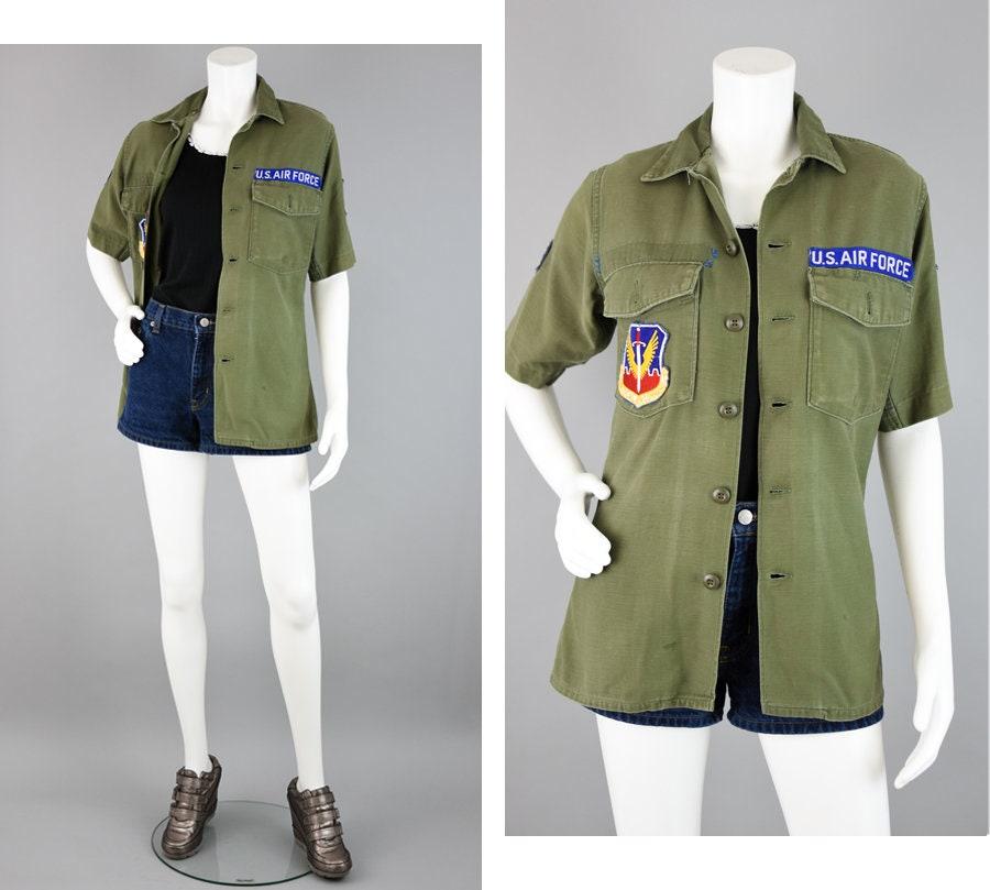 1950s Mens Hats | 50s Vintage Men's Hats Vintage 60S Air Force Shirt, Olive Green Sateen Short Sleeve, Distressed Honest Wear, Korean Vietnam War, Mens Small $39.10 AT vintagedancer.com