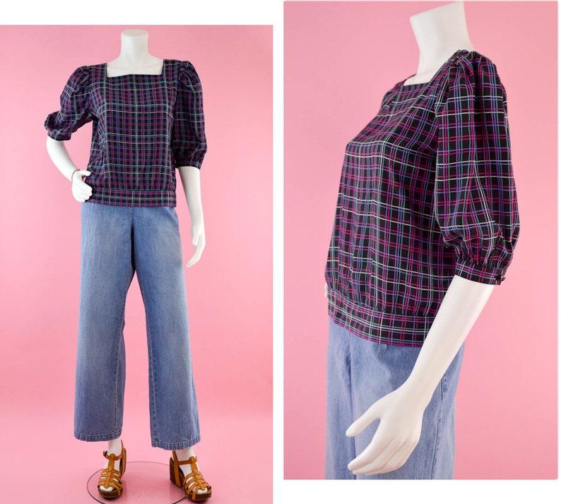 ecb1b3ff 80s Short Sleeve Blouse Vintage 80s Liz Claiborne Black Silky   Etsy
